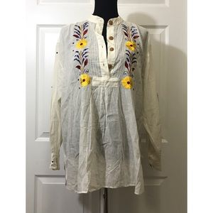 Ethnic linen blend floral oversized tunic top
